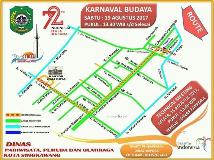 rute pawai karnaval singkawang